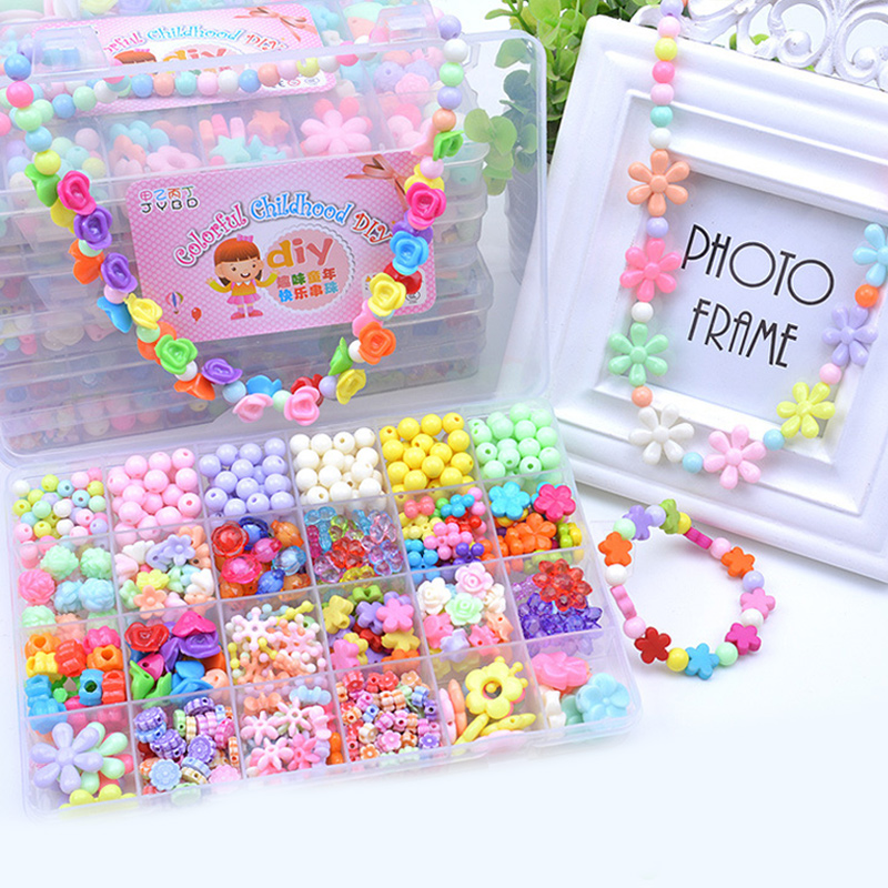 580PCS DIY Bracelet Colorful Flower Star Beads 24 Compartments PVC BoxSet Jewelry Making Kit for Kids Gifts