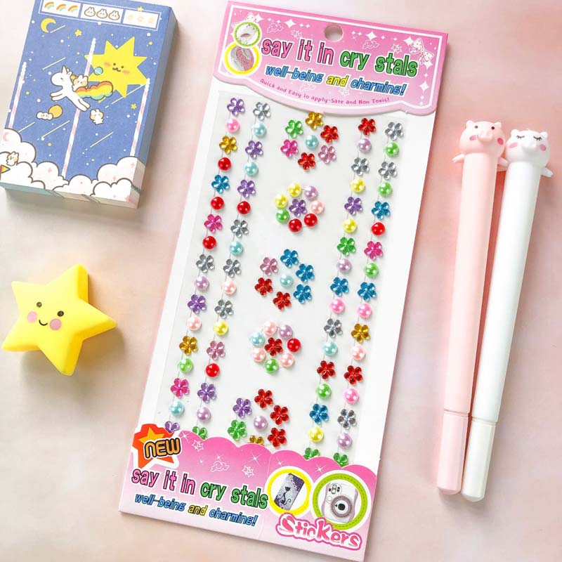 3 Sheets Flower DIY Crystal Rhinestone Sticker Jewels Gems Sticker Set for Kids