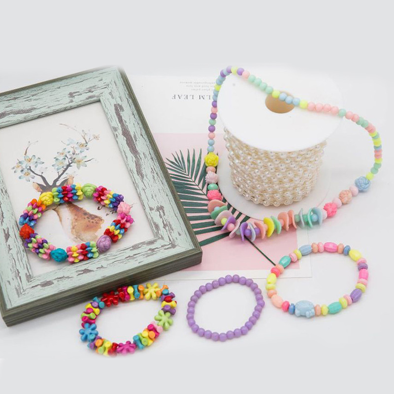 500PCS DIY Bracelet Colorful Flower Beads 24 Compartments PVC BoxSetJewelry Making Kit for Kids Gifts