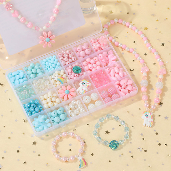 500PCS DIY Bracelet Colorful Flowers Horse Beads 24 Compartments PVC BoxSetJewelry Making Kit for Kids Gifts