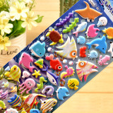 4 Sheets Cartoon Marine Animal Dolphins 3D Foam Puffy Sticker for Kids Toddler