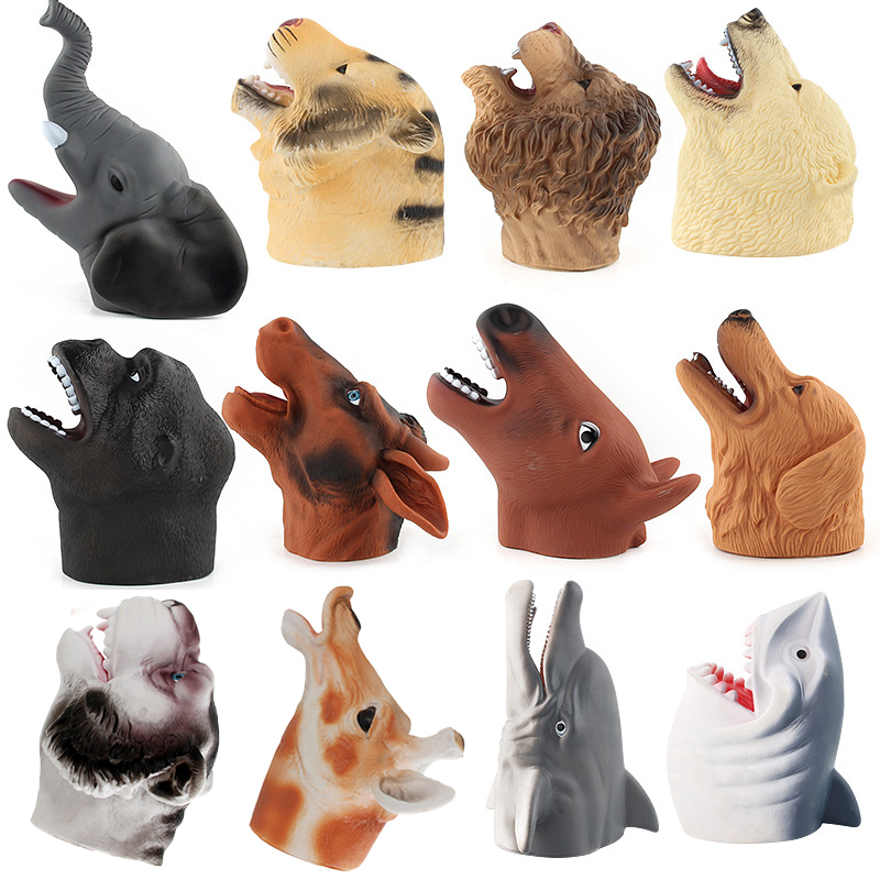 Wild Animal Hand Puppet Toys Rubber Realistic Head Toys for Kids Gift