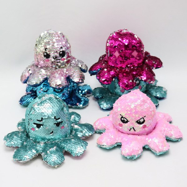 The Original Sequins Reversible Octopus Double Faced Expression Patented Design Soft Stuffed Plush Animal Doll Toy