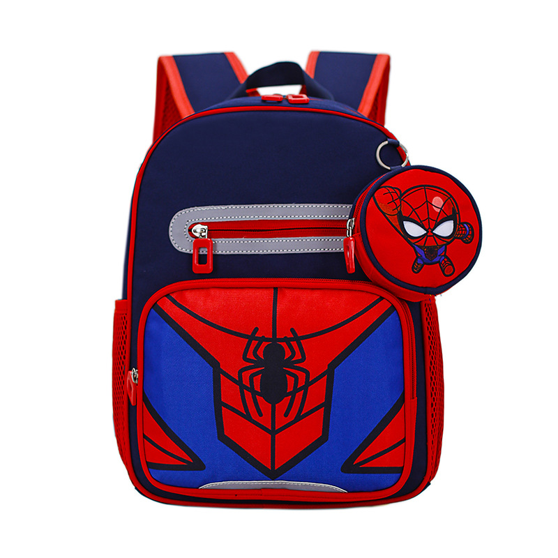 Students Primary School Backpack Spider Man Captain America Schoolbags With Coin Purse