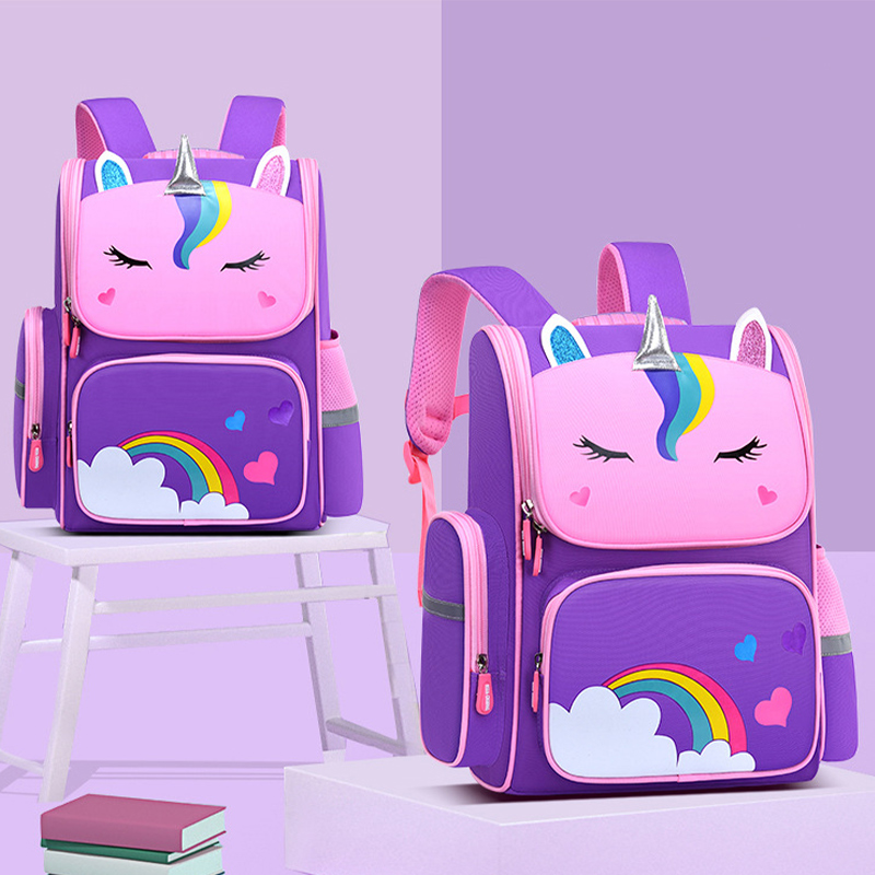 Primary School Backpack Cartoon Unicorn Rainbow Schoolbags For Kids