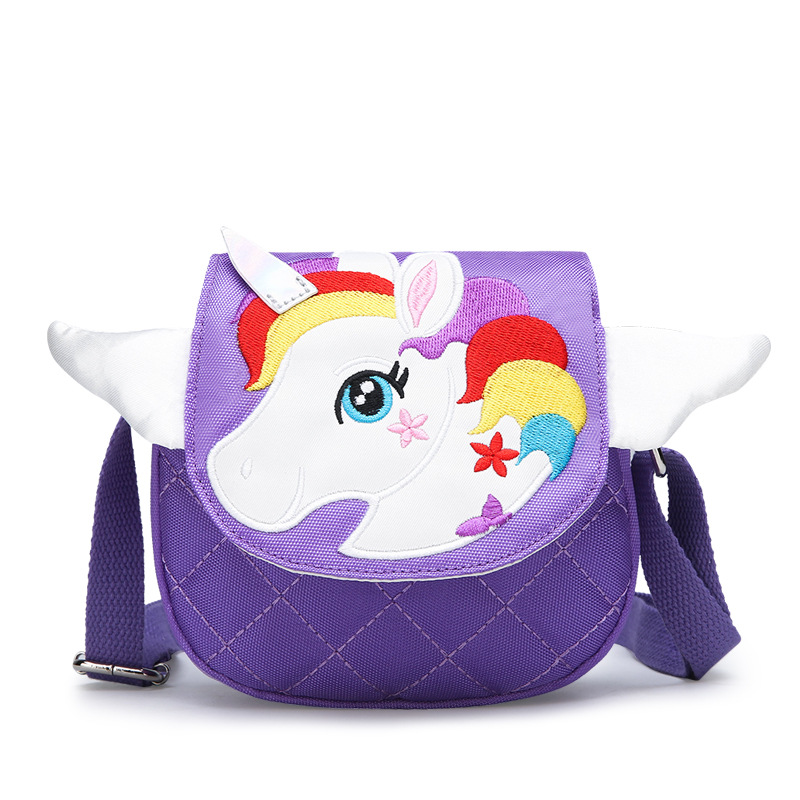 Toddlers Kids Rainbow Unicorn Wings Crossbody Shoulder Canvas Handbag