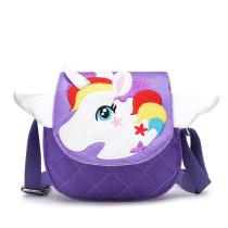 Toddlers Kids Rainbow Unicorn Wings Crossbody Shoulder Canvas Handbag