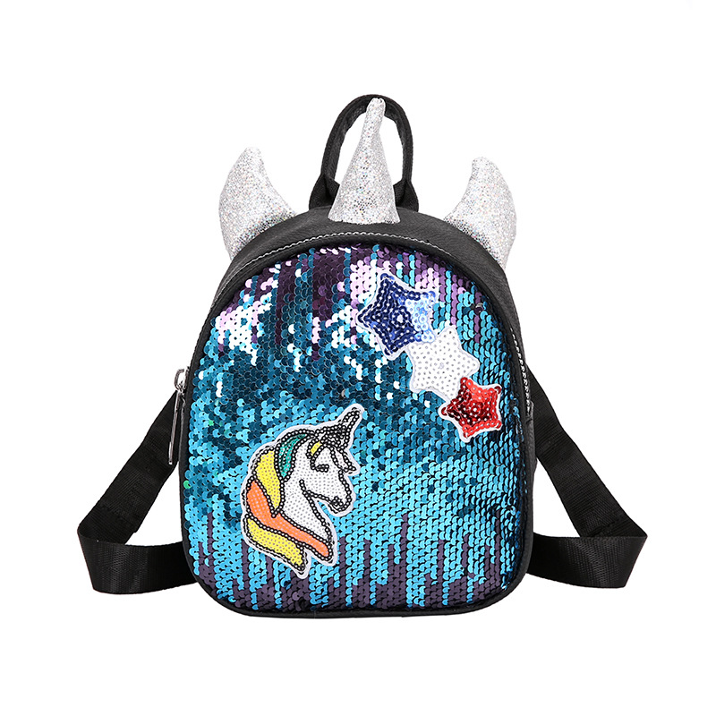 Fashion 3D Sequins Unicorn Backpacks Bag