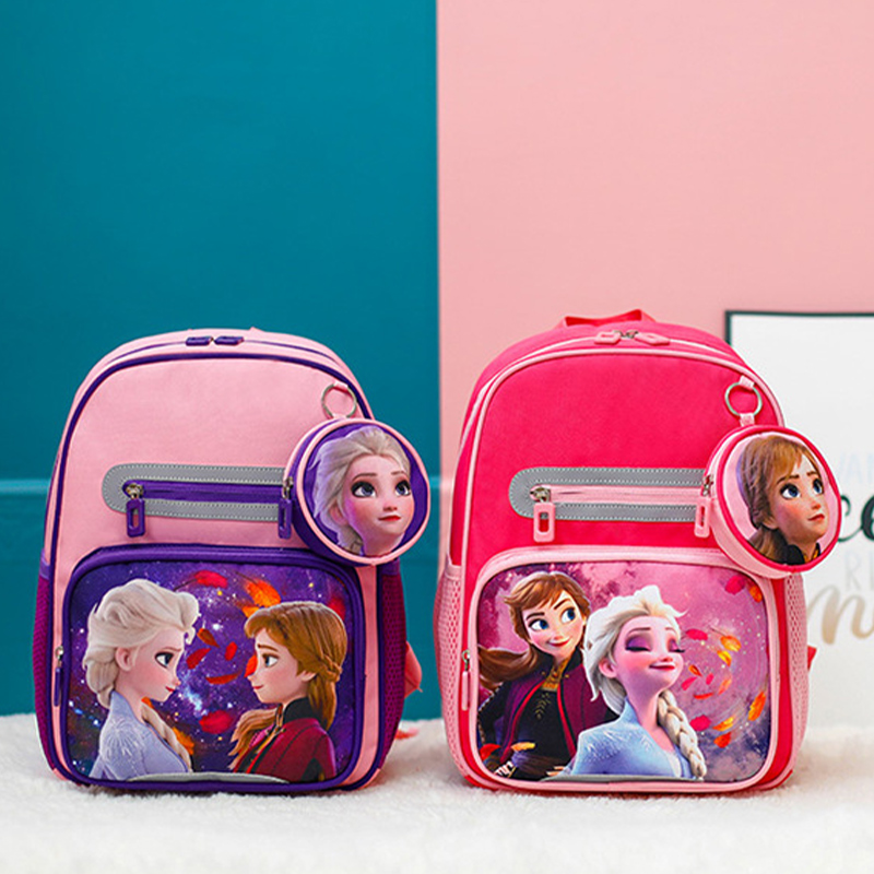 Students Primary School Backpack Cartoon Frozen Schoolbags With Coin Purse