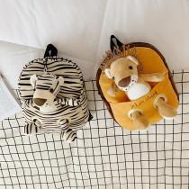 Kindergarten School Backpack Cartoon Animal Lion Plush Schoolbags With Doll