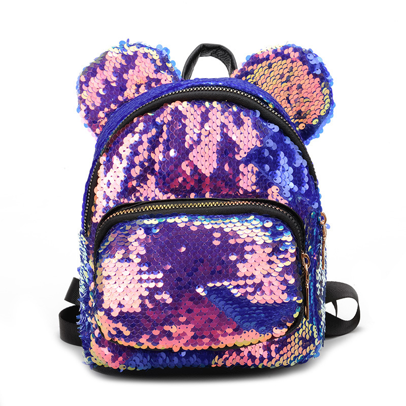 Fashion Sequins Mickey Zipper Backpacks Bag