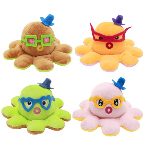 The Original Glasses Reversible Octopus Double Faced Expression Patented Design Soft Stuffed Plush Animal Doll Toy