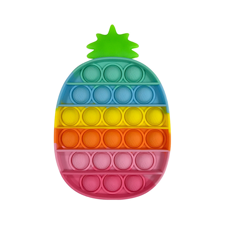 Rainbow Fruit Pineapple Carrot Strawberry Pop It Fidget Toy Bubble Sensory Fidget Toy Stress Relief For Kids & Adult