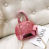 Sequins Shining Stars Shell Shoulder Chain Bags With Tassel Hanging