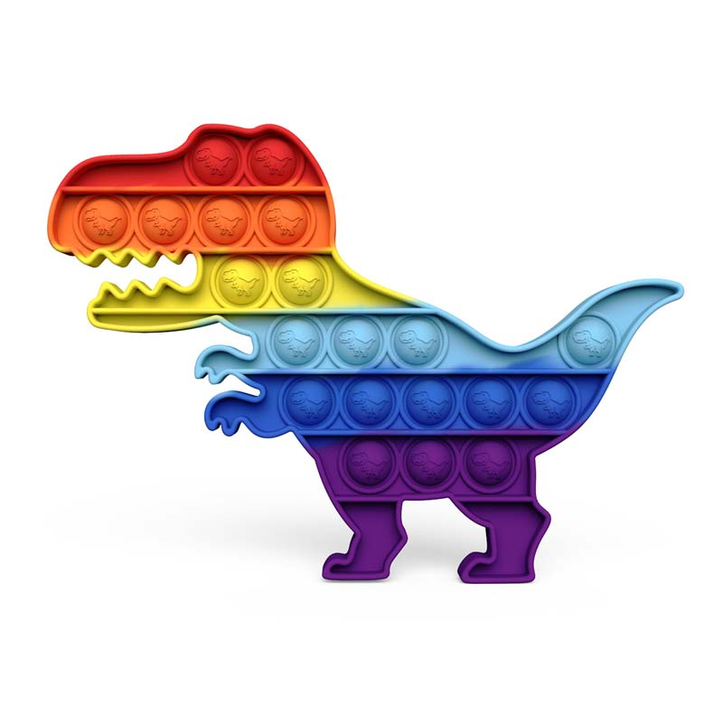 Rainbow Dinosaur Pop It Fidget Toy Push Pop Bubble Sensory Fidget Toy Stress Relief For Kids & Adult