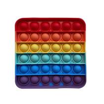 Rainbow Square Geometry Pop It Fidget Toy Push Pop Bubble Sensory Fidget Toy Stress Relief For Kids & Adult