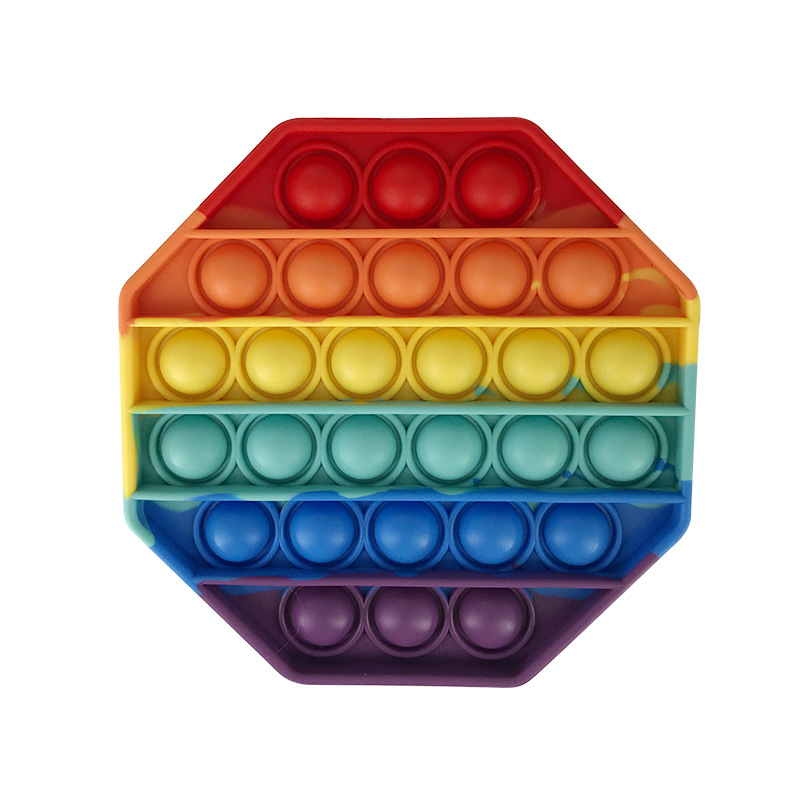Rainbow Octagon Geometry Pop It Fidget Toy Push Pop Pop Bubble Sensory Fidget Toy Stress Relief For Kids & Adult