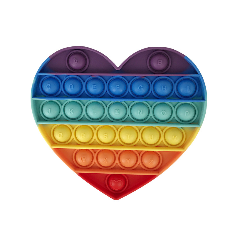 Rainbow Heart Push Pop It Fidget Toy Pop Bubble Sensory Fidget Toy Stress Relief For Kids & Adult