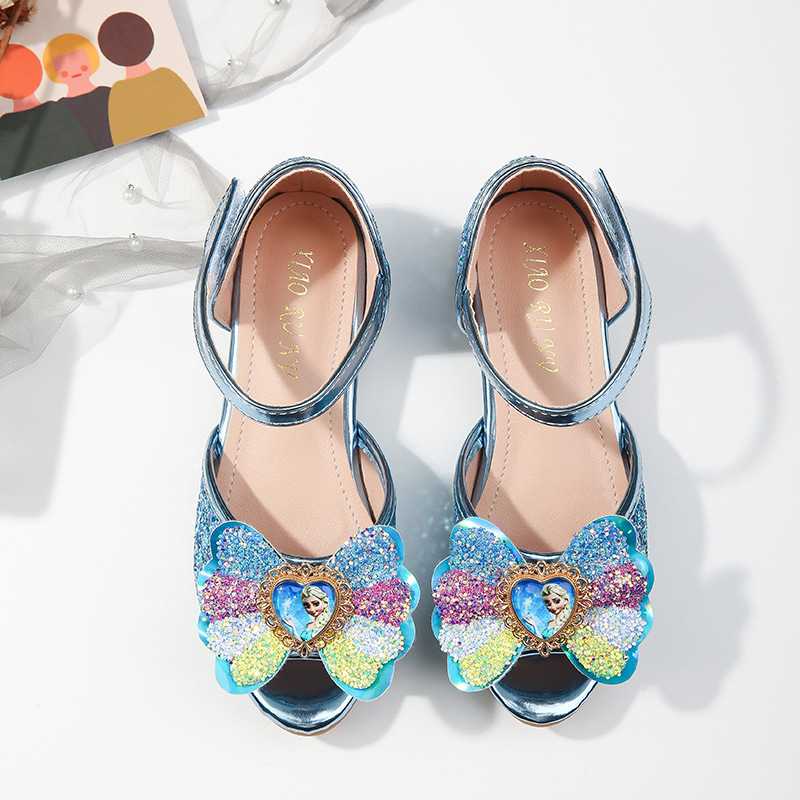 Kid Girl Rainbow Glitter Sequins Frozen Aisha Princess Crystal Dress Shoes