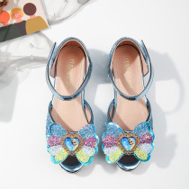 Kid Girl Rainbow Glitter Sequins Frozen Aisha Princess Crystal Dress Shoes