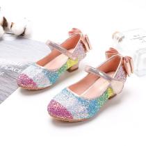 Kid Girls Sequins Rainbow High-heeled Pump Princess Dress Shoes