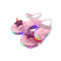 Kid Girls LED Sequins Rainbow Flash Star Jelly Flat Sandals Shoes