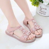 Kid Girl 3D Pearls Flowers Open-Toed Sandals Shoes