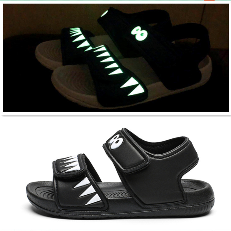 Kid Boy Luminous Shark Velcro Veins Outdoor Beach Sandals Shoes