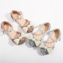 Kid Girls White Pearls Bowknot Sequins Flat Dress Shoes