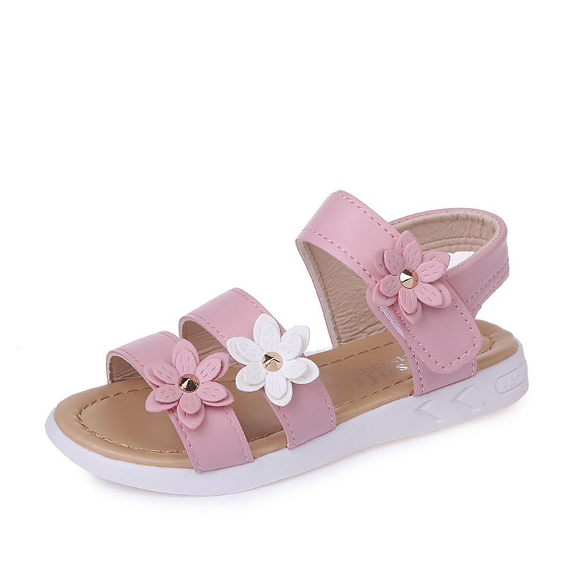 Kid Girl 3D Flowers Roman Sandals Shoes