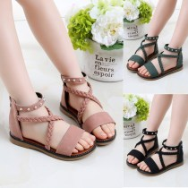 Kid Girl Silver Rivet Cross Over Open-Toed Suede Sandals Shoes