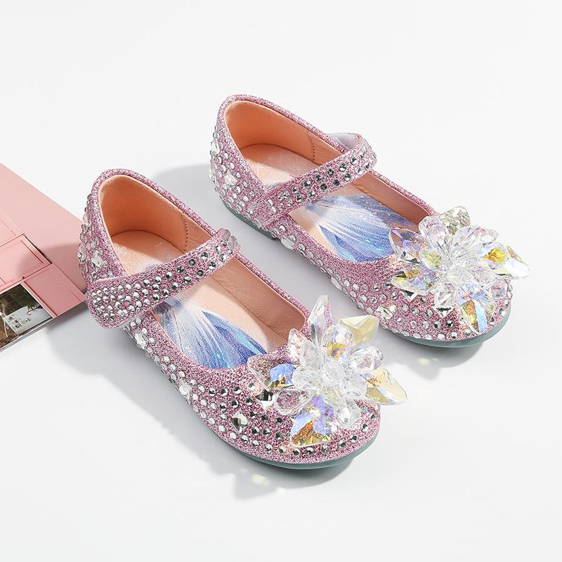 Kid Girls Sequins Crystal Flower Frozen Princess Sandals Dress Shoes