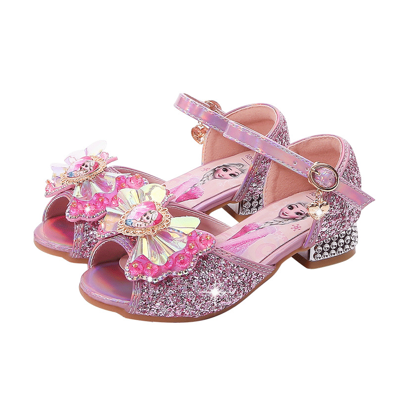 Kid Girls Sequins Bowknot Frozen Princess Open-Toed Jewelry High Pumps Sandals Dress Shoes