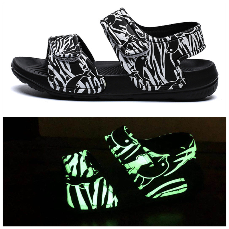 Kid Boy Girl Luminous Velcro Veins Outdoor Beach Sandals Shoes