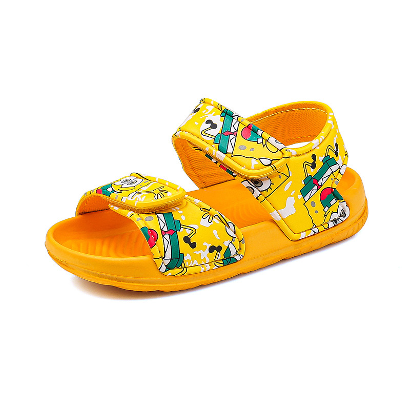 Kid Girl Hello Kitty Spongebob Velcro Veins Outdoor Beach Sandals Shoes