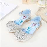 Kid Girls Crystal Diamond Sequins Frozen Princess Jewelry High Pumps Sandals Dress Shoes