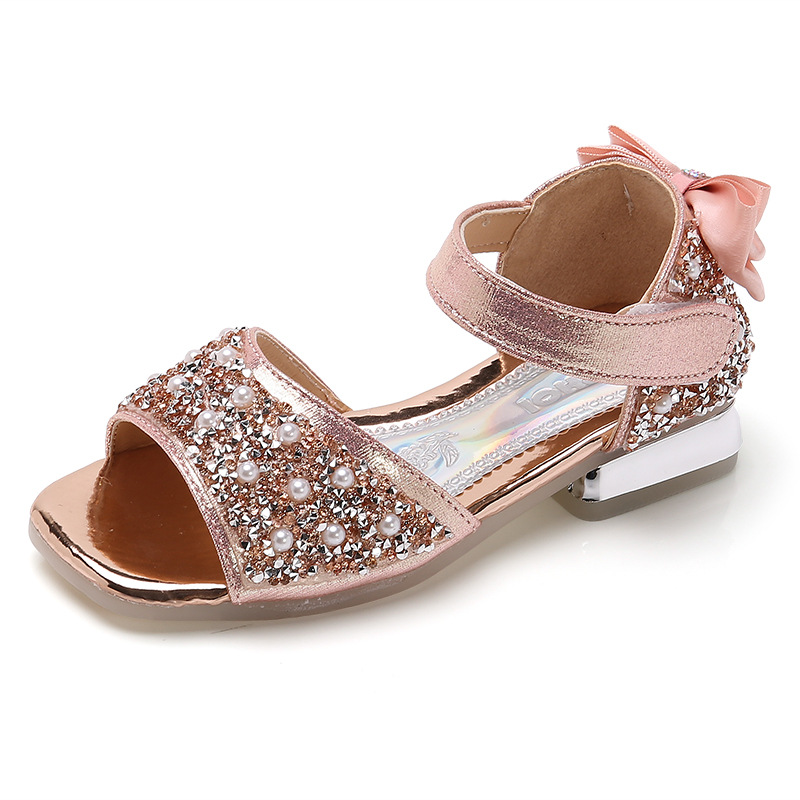 Kid Girl Pearls Glitter Sequins Velvet Bowknot Sandals Shoes