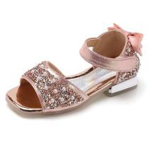 Kid Girl Pearls Glitter Sequins Velvet Bowknot Sandals Shoes