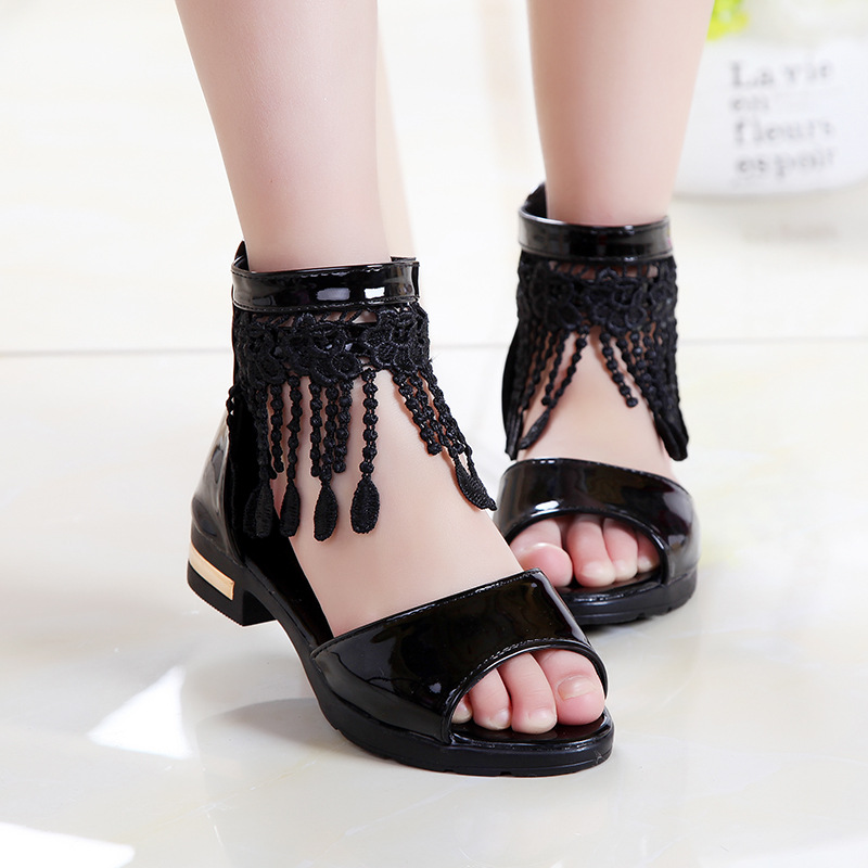 Kid Girl Lace Tassel Open-Toed Sandals Shoes