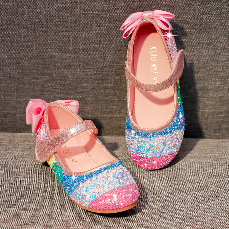 Kid Girl Rainbow Sequins Glitter Bowknot Princess Dress Shoes