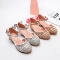 Kid Girls Sequins Crystal Bowknot High Pumps Dress Shoes