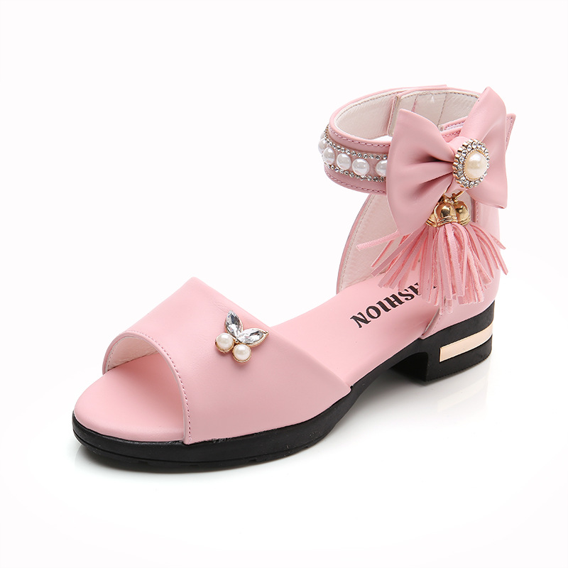 Kid Girl Bowknot Tassels Pearl Open-Toed Sandals Shoes