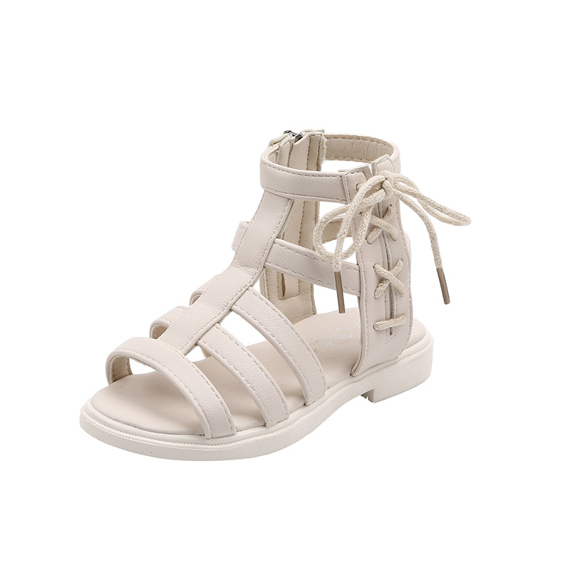 Kid Girl Gladiator Strappy Zip Sandals Shoes