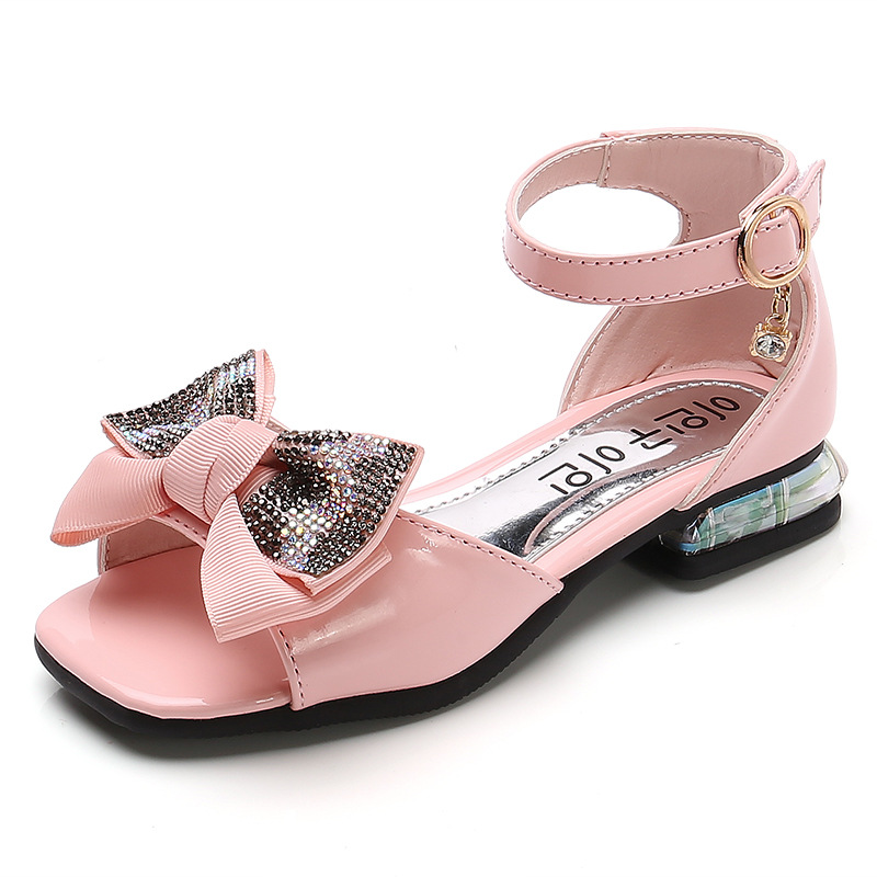 Kid Girl Sequins Chain Jewelry Square Open-Toed Soft Bottom Sandals Shoes