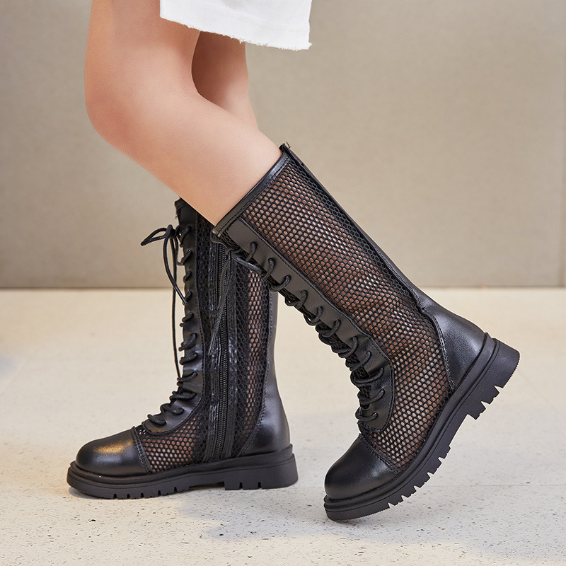 Kid Girl Mesh Lace Up Boots Shoes