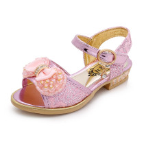 Kid Girl Lace Jewelry Pearls Bowknot Open-Toed Sandals Shoes