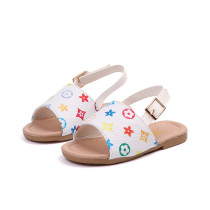 Kid Girl Flowers Plaid Open-Toed Beach Sandals Shoes