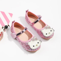 Kid Girls Hello Kitty Sequins Crystal Flats Dress Shoes
