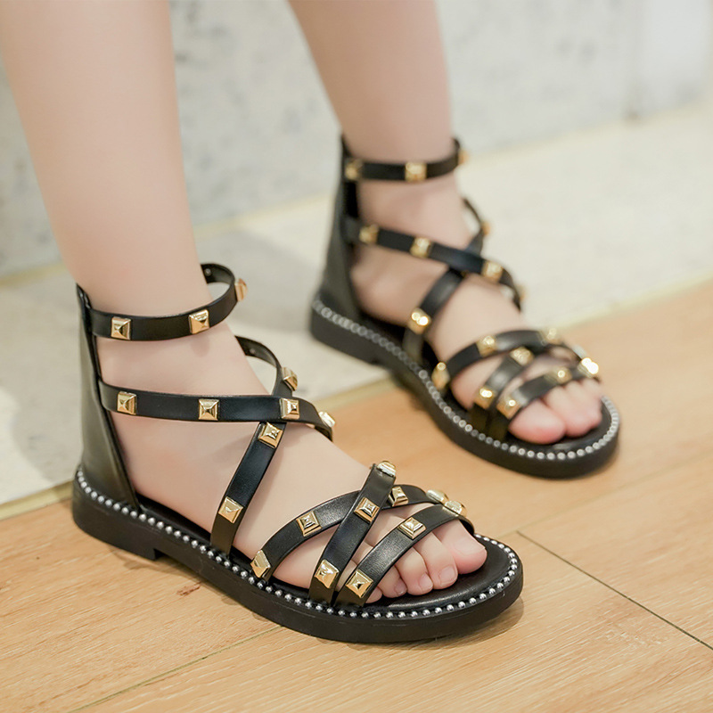 Kid Girl Rivet Cut Out Gladiator Sandals Shoes