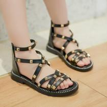 Kid Girl Rivet Cut Out Gladiator Sandals Shoes
